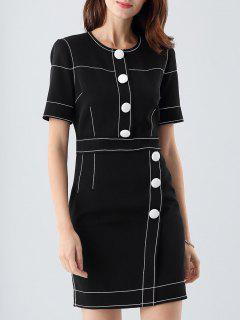 Stitched Sheath Office Dress - Black S