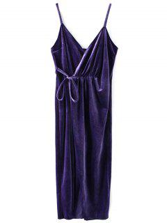 Slip Velvet Wrap Midi Dress - Deep Purple S