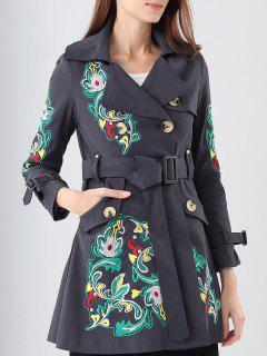 Lapel Belt Embroidered Trench Coat - Purplish Blue S