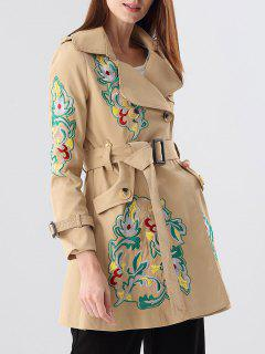 Lapel Belt Embroidered Trench Coat - Khaki S