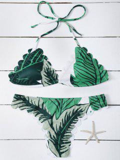 Maillot De Bain Crénelé Halter Imprimé Herbe - Vert S