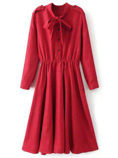 Bow Tie Epaulet Long Sleeve A Line Dress - Bright Red S