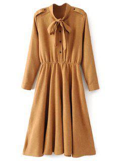 Bow Tie Epaulet Long Sleeve A Line Dress - Earthy S