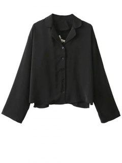 Floral Embroidered Oversized Shirt - Black S