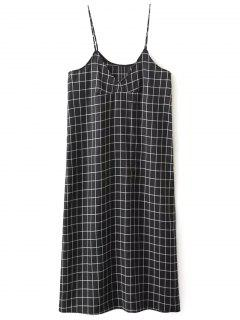 Shift V Neck Slip Plaid Dress - Black L
