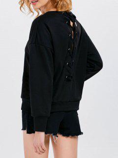 Jewel  Neck Lace Up Sweatshirt - Black L