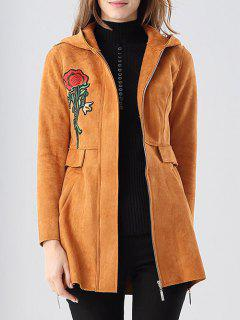 Faux Suede Embroidered Patch Coat - Camel S