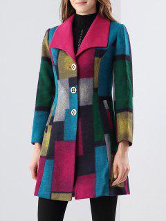 Belt Patchwork Wool Blend Coat - Rose Red S