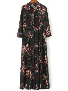 Maxi Floral Print Shirt Dress - Black M