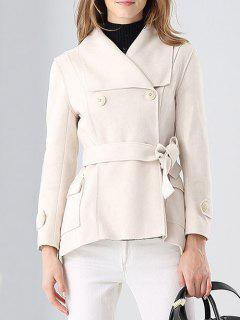 Faux Suede Shawl Jacket - Off-white S