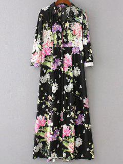 High Waist Floral Print Button Up Dress - Black M