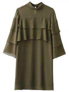 Bell Sleeve Ruffle Chiffon Mini Dress - Army Green S