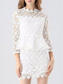 Crochet Lace Peplum Top And Skirt - White S
