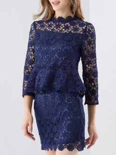 Crochet Lace Peplum Top And Skirt - Purplish Blue S