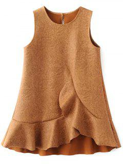 Mini Ruffle Suede Tank A Line Dress - Gold Brown S