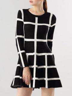 Long Sleeve Flippy Sweater Dress - White And Black S