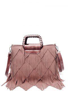 Faux Leather Multi Fringe Handbag - Pink