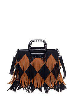 Color Blocking Multi Fringe Handbag - Black And Brown