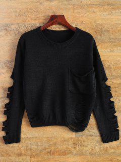Sweater Côtelé Avec Poche De Pièce - Noir