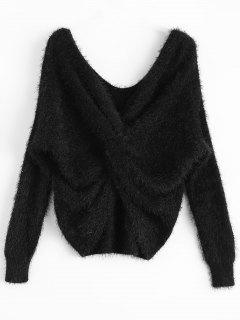 Sweater En Chenille à Dos Tortu - Noir
