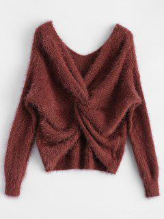 Fluffy Twisted Chenille Sweater - Claret