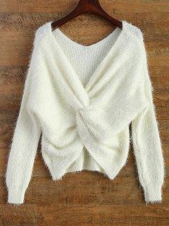 Sweater En Chenille à Dos Tortu - Blanc