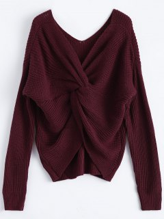 V Neck Twisted Back Sweater - Burgundy