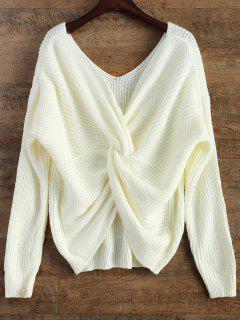 V Neck Twisted Back Sweater - White