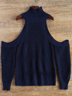 Ausschnitt Schulterfrei Trichter Pullover - Schwarzblau