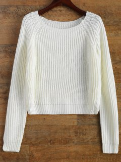 Raglan Sleeve Boxy Basic Sweater - White
