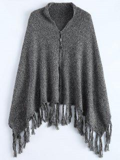 Heathered Tasselled Poncho - Gray