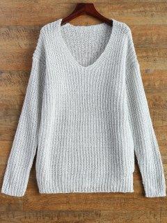 Sweater à Fente De Côté Col V - Blanc