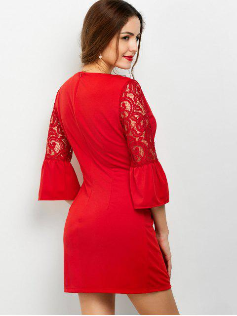 best Lace Panel Flare Sleeve Party Wear Dress For Women - RED L Mobile