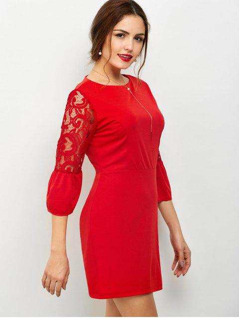 online Lace Panel Flare Sleeve Party Wear Dress For Women - RED M Mobile