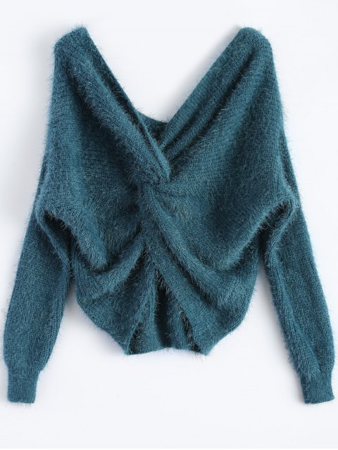 affordable Fluffy Twisted Chenille Sweater - PEACOCK BLUE ONE SIZE Mobile