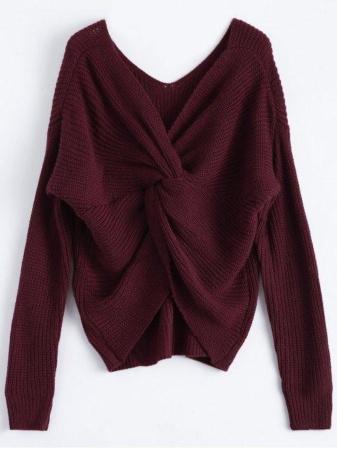 lady V Neck Twisted Back Sweater - BURGUNDY ONE SIZE Mobile