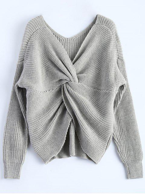 online V Neck Twisted Back Sweater - GRAY ONE SIZE Mobile
