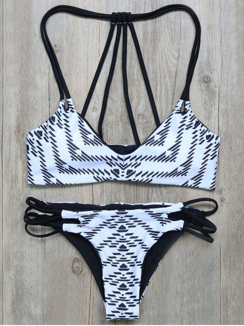 shop Geometric Print Strappy Back Bikini - WHITE AND BLACK S Mobile