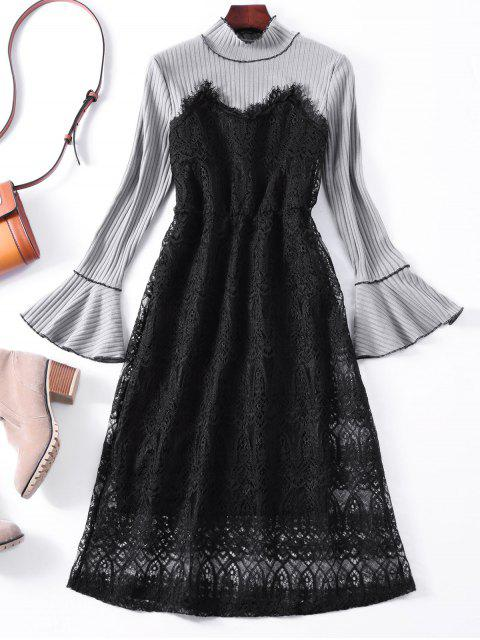 fancy Flare Sleeve Lace Panel Midi Dress - GRAY ONE SIZE Mobile
