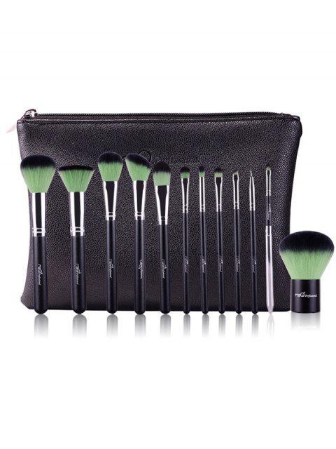 sale 12 Pcs Makeup Brushes Kit - GREEN  Mobile