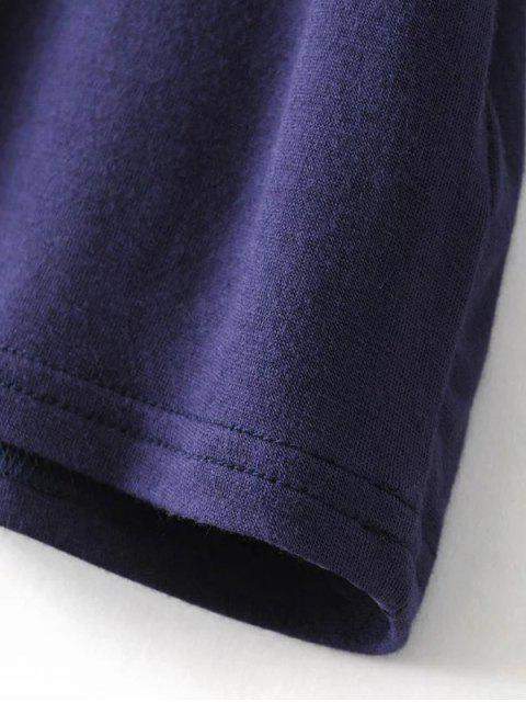 sale V Neck Choker Strap Tee - PURPLISH BLUE M Mobile