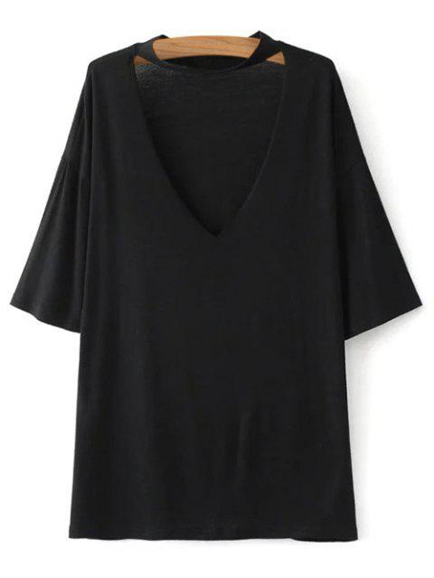 women V Neck Choker Strap Tee - BLACK S Mobile