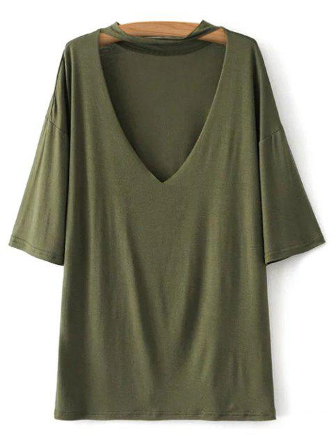 lady V Neck Choker Strap Tee - ARMY GREEN S Mobile