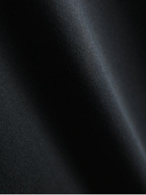 ladies Short Sleeve Letter Pattern T-Shirt - BLACK L Mobile