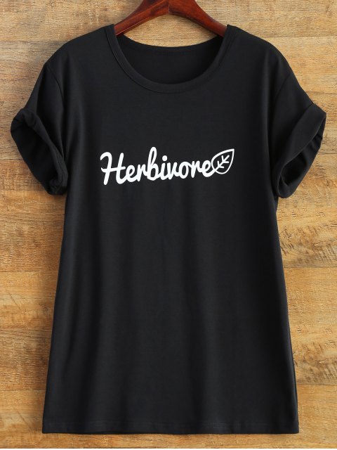 affordable Short Sleeve Herbiuone Boyfriend T-Shirt - BLACK XL Mobile