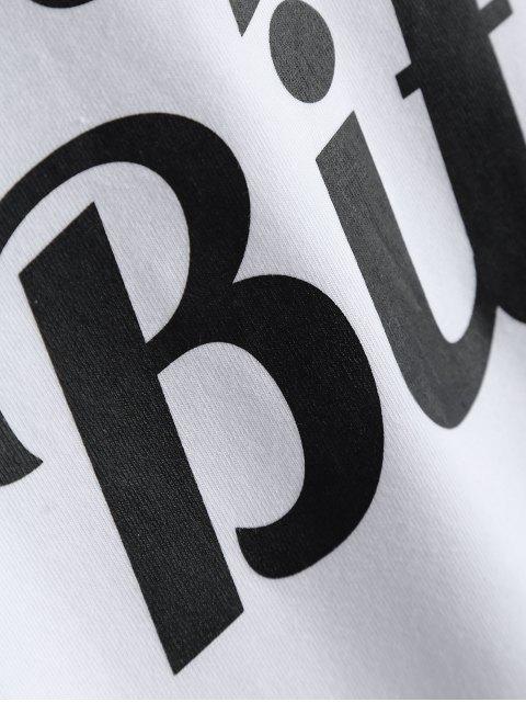 T-shirt imprimé de lettres à col rond et bas à manches courtes - Blanc S Mobile