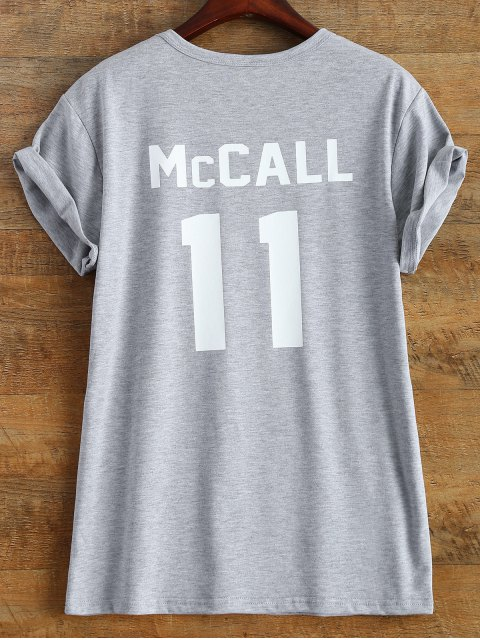 best Short Sleeve McCall 11 Boyfriend Tee - GRAY L Mobile