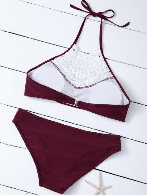 trendy Crochet Trim High Neck Bikini - BURGUNDY XL Mobile