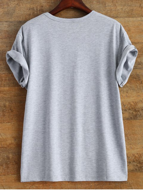 women Short Sleeve Text Print Tee - GRAY XL Mobile