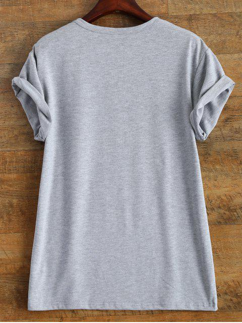 shop Roll Sleeve Text Print Tee - GRAY 3XL Mobile